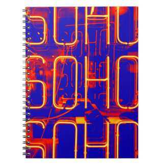 Neon Soho Sign Illuminated in London Notebook