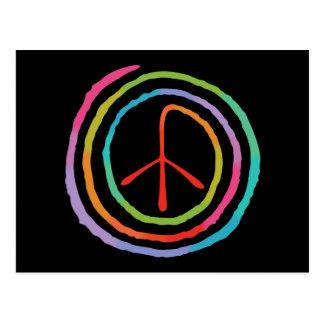Neon Spiral Peace Symbol II Postcard