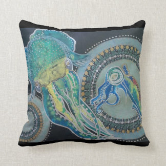 Neon squid throw pillow