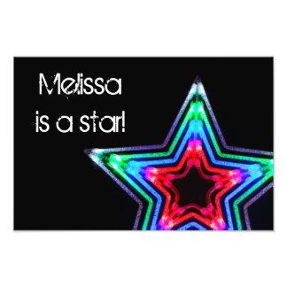 Neon Star Light Custom Photo Print
