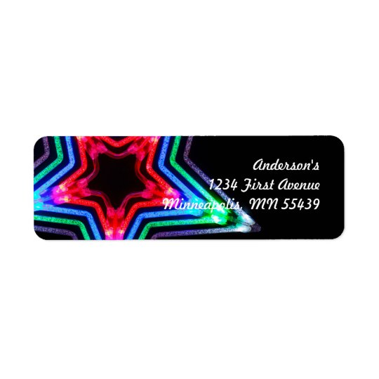 Neon Star Light Custom Return Address Labels