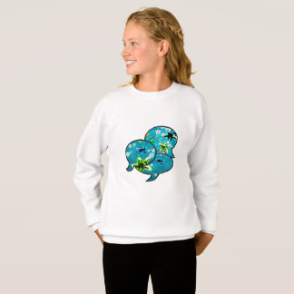 Neon starfish and flowers in bubbles sweatshirt