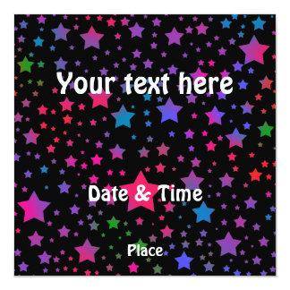 """Neon Stars 5.25"""" Square Invitation Card"""
