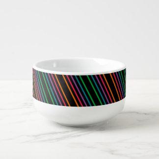 Neon Stripes Soup Mug