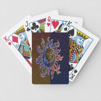 Neon Sun Moon Bicycle Playing Cards