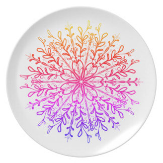 Neon sunset floral vine medallion plate