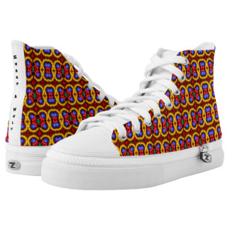 Neon tribe pattern high tops