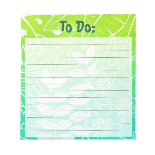 Neon Tropical Foliage Customizable Lined Notepad