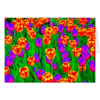 Neon Tulips Happy Birthday Card