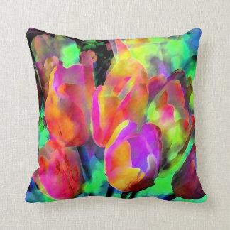 """Neon Tulips"" pillow"