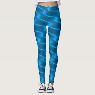 Neon Turquoise Wavy Lines Leggings