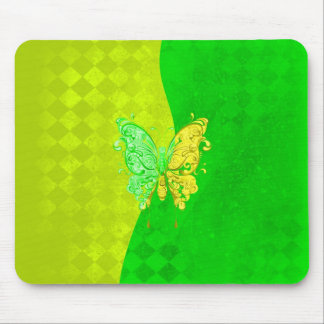 Neon Two Tone Butterfly in yellow and green Mouse Pad