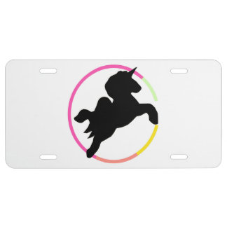 Neon  unicorn! license plate