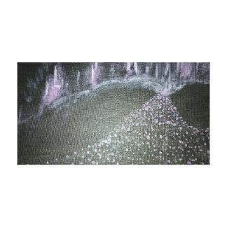 Neon violet cityscape canvas print
