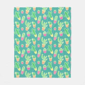 Neon Watercolor Cactus In Pots Pattern Fleece Blanket