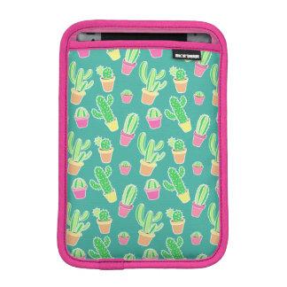 Neon Watercolor Cactus In Pots Pattern iPad Mini Sleeve