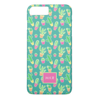 Neon Watercolor Cactus In Pots Pattern iPhone 8 Plus/7 Plus Case