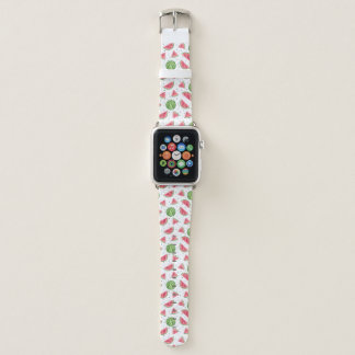 Neon Watercolor Watermelons Pattern Apple Watch Band