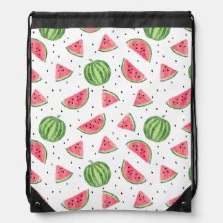 Neon Watercolor Watermelons Pattern Drawstring Bag