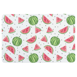 Neon Watercolor Watermelons Pattern Floor Mat