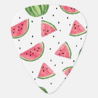 Neon Watercolor Watermelons Pattern Guitar Pick