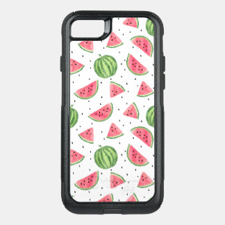 Neon Watercolor Watermelons Pattern OtterBox Commuter iPhone 8/7 Case