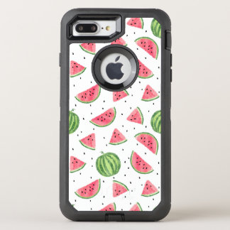 Neon Watercolor Watermelons Pattern OtterBox Defender iPhone 8 Plus/7 Plus Case
