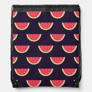 Neon Watermelon on Purple Pattern Drawstring Bag