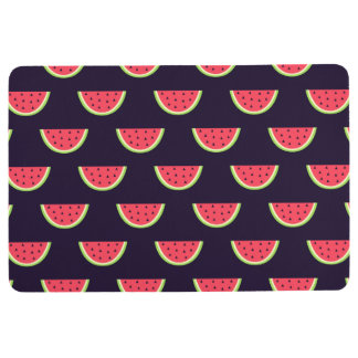 Neon Watermelon on Purple Pattern Floor Mat
