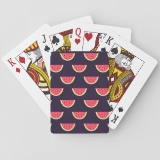 Neon Watermelon on Purple Pattern Playing Cards