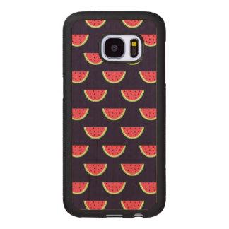 Neon Watermelon on Purple Pattern Wood Samsung Galaxy S7 Case