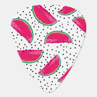 Neon Watermelon on Seeds Pattern Guitar Pick