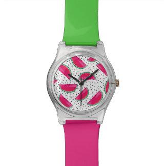 Neon Watermelon on Seeds Pattern Watch