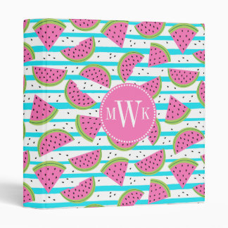 Neon Watermelon on Stripes Pattern 3 Ring Binder