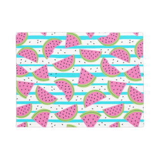 Neon Watermelon on Stripes Pattern Doormat