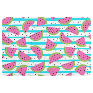 Neon Watermelon on Stripes Pattern Floor Mat