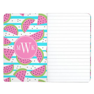 Neon Watermelon on Stripes Pattern Journal
