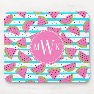 Neon Watermelon on Stripes Pattern Mouse Pad