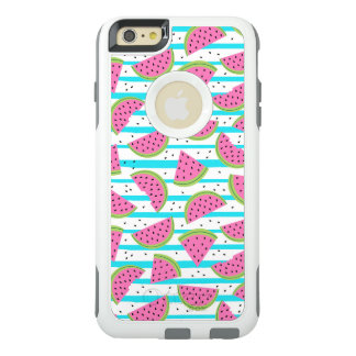 Neon Watermelon on Stripes Pattern OtterBox iPhone 6/6s Plus Case