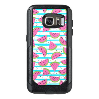 Neon Watermelon on Stripes Pattern OtterBox Samsung Galaxy S7 Case