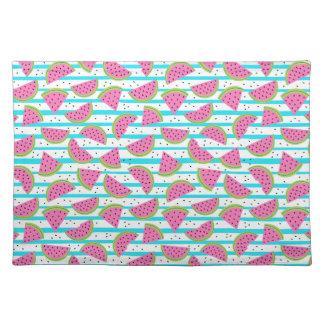 Neon Watermelon on Stripes Pattern Placemat