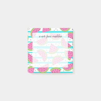 Neon Watermelon on Stripes Pattern Post-it Notes