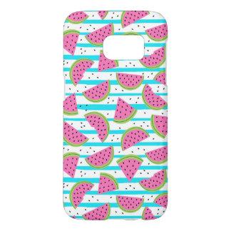Neon Watermelon on Stripes Pattern Samsung Galaxy S7 Case