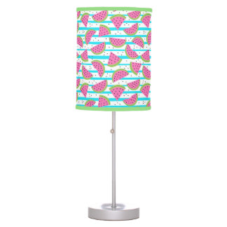 Neon Watermelon on Stripes Pattern Table Lamp