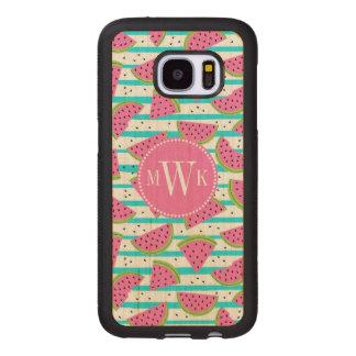 Neon Watermelon on Stripes Pattern Wood Samsung Galaxy S7 Case