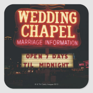 Neon Wedding Chapel Sign in Las Vegas, USA Square Sticker