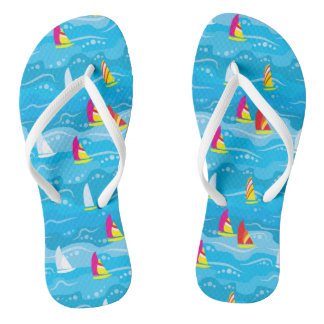 Neon Yacht Pattern Flip Flops