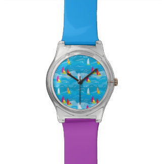 Neon Yacht Pattern Wristwatches