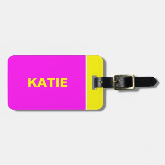 Neon Yellow an Pink travel luggage tag