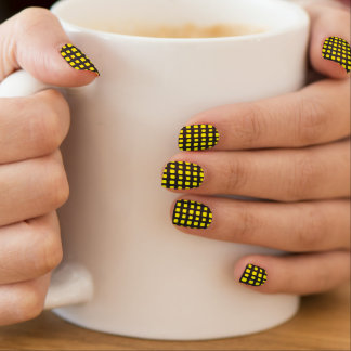 Neon Yellow and Black Grid Minx Nail Art